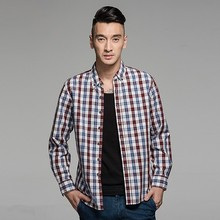 online retail store various sizes carbon washing polyester casual check chinese shirt for men