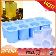 fred reusable rubber cup silicone shot glass mold 6,oem or custom silicone ice shot glass