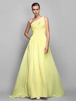 Sheath/Column One Shoulder Sweep/Brush Train Georgette Evening/Prom Dress