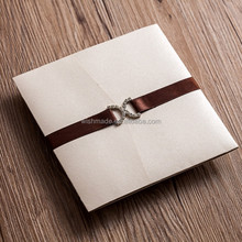 unique Wedding invitation card with RSVP card/ greeting card brown ribbon decoration AW5501