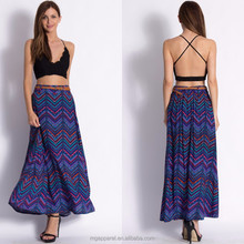 Fashion 2015 swing skirts cheap wholesale maxi long skirt with trendy print