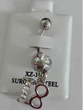 Stainless steel clear gem 18 Logo belly ring navel piercings jewelry