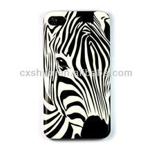 Zebra Hard Back Case Skin Cover for Apple Iphone 4 4s + One Headset Winder