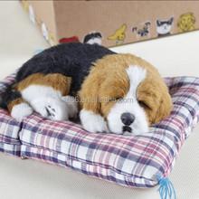 Lifelike plush fake fur sleeping dog