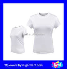 OEM white blank tshirt cheap plain tshirt 100% polyester women's t shirts