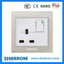 1 gang switch UK socket. British standard. 13A square outlet