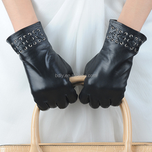High quality fashion black women sheepskin leather gloves with wool lining