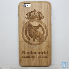 Real Madrid Team Pattern Genuine real Handmade Natural bamboo cell phone case for iphone 6