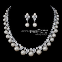 Pearl&CZ Stone Women Jewelry Set Real Platinum Plated Luxury Necklace and Earring Set (Vs-214) Vocheng Jewelry