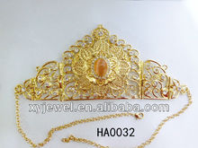 2013 new design wholesale hair accessories with gold plating and rhinestone