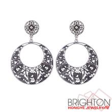 Anti Silver Alloy Big Round Earrings E1-36893