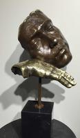 Copper art statue bronze man face art with hand sculpture
