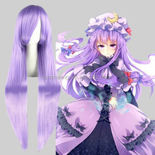 High Quality 100cm Long Straight Gin Tama-Sarutobi Ayame Light Purple Synthetic Anime Wig Cosplay Hair Wig Party Wig