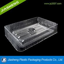 PET Food-grade and rectangular plastic designer food serving trays clear