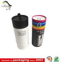 Top quality paper round box tube with plastic metal or paper cap lid food glass gift package