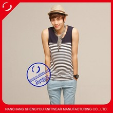 high quality 100% cotton mens yarn dyed tank top