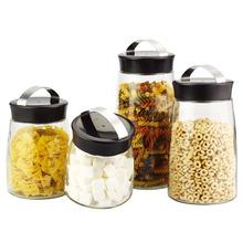 SINOGLASS 4 pcs PLASTIC lid EASY HANDLE airtight glass Storage canister jar set