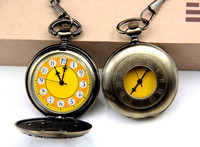mechanical pocket watch with Rome digital yellow face Factory direct sale!