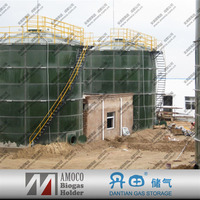 Portable anaerobic tank biogas plant for food waste treatment with double membrane cover/gas holder/storage tanks