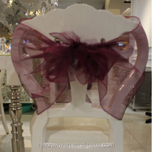 crystal sheer organza chair cover sash for home decoration