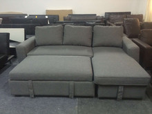 2015 New Modern Fabric Corner Sofa With a big storage and push sofabed