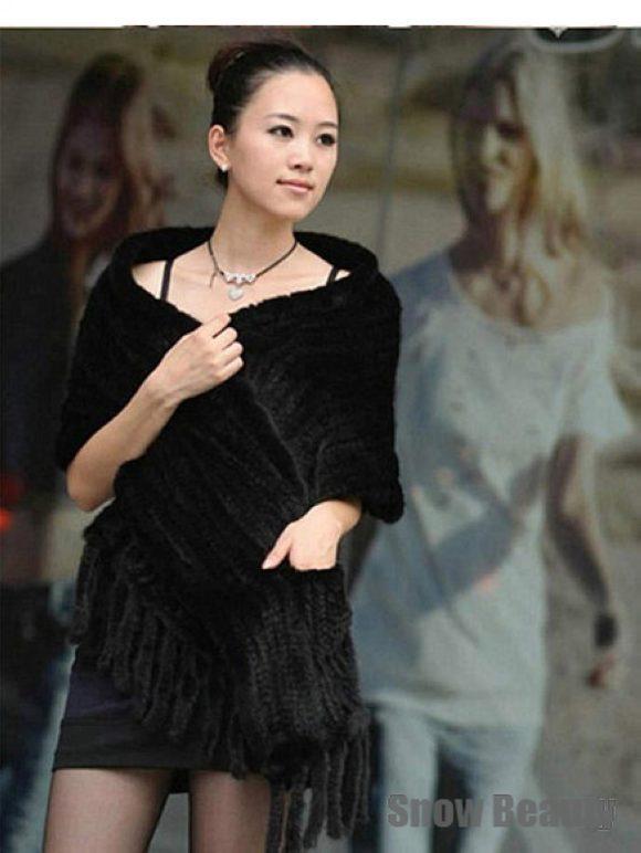 woven 100% genuine womenknit Mink fur wrap with tassel warm winter mink scarf lady weeding part fashion shawl free ship   CW2393