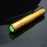 100mW focusable green laser pointer, ignite match after focus. black/gold/silver shell
