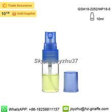 10 ml effacer tubulaire parfum bouteille en verre avec pompe de pulvérisation
