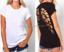 2015 OEM Fashion Hot Womens Round neck short sleeve T-shirt vest Pierced Undershirt Short Sleeve