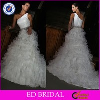 2015 Beautiful Organza Ruffle Bottom Ctystal Belt One Shoulder Wedding Dresses