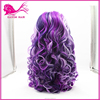 hot sale beautiful synthetic hair wig purple ombre kanekalon synthetic hair