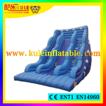 Kule top quality sky blue inflatable slides/inflatable double slip slides /outdoor inflatable slides