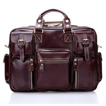 Hot new product for 2015 European stylish men's genuine leather tote travel bag ,laptop bag
