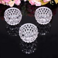 round shape clear glass candle holder stand