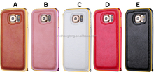 Litchi pattern Leather Hard Back Case Cover 2 in1 Metal Bumper Frame Cover For Galaxy S6
