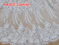NA002-2 white African Lace Fabrics For Garment Net Lace Wedding Dress Fabric embroidery french lace with beads and stone