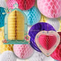 Party Partners Design Hanging Honeycomb Tissue White Pom-Pom Decoration Balls