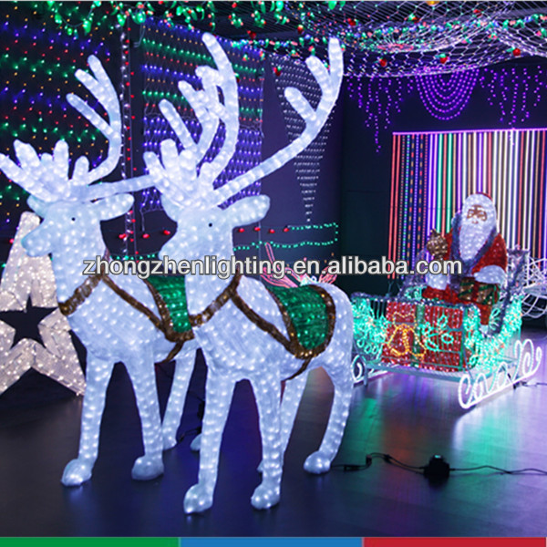 2014 illuminated reindeer with sleigh led christmas light buy christmas dec - Decoration noel professionnel ...