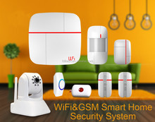 Home safety GPRS WIFI alarm system with 2.4G WIFI network and 2/3G gsm network support,433/868mhz for option