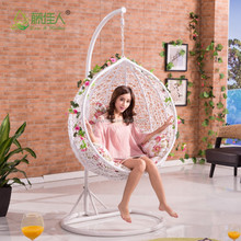 cheap price indoor outdoor patio garden rattan wicker hanging egg basket swing chair with metal stand