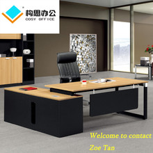Hot sale new style MFC/MDF steel legs panels wooden office furniture executive desk