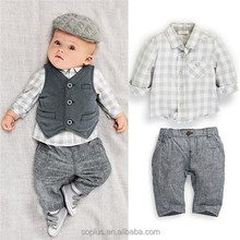 SFK1507448 2015 Songfa Trade New Coming Clothing Byby Kids 3 Pieces Vest Shirt Pants Suits Cheap Boy Clothing Set