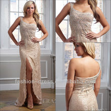 Beautiful One Shoulder Lace Gown With Starburst Crystal Scalloped Right Side Slit Fashion Mature Women Evening Dresses