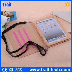 Elastic Belt Side Flip Stand PU Leather Case for iPad 4 for ipad 2 for The New iPad with Shoulder Strap