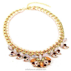 Silicone teething necklace and silicone rubber necklace manufacturer in yiwu ,fashion collar choker rhinestone necklace Q0134
