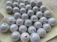 New 20mm White Ab Acrylic Solid Beads , Excellent Quality Shinny Acrylic Round Beads for Chunky Necklace Jewelry