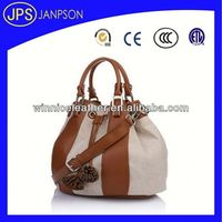 multi-purpose women bag 2013 new pu leather bag in black and white color rolling computer bags for women