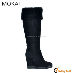 MK057-2 black cowskin ladies knee boots, fur inside winter boots, wedge heel boot