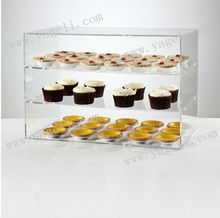clear acrylic cupcake display cabinet with two shelves