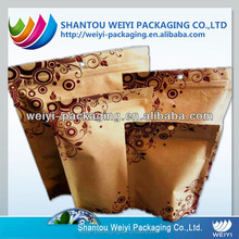 Custom print recycle brown kraft rice paper stand up pouch